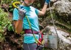 Melanie vor dem Einstieg in ihren ersten Klettersteig