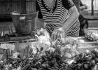 alte Frau am Bauernmarkt in Pula