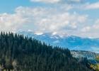 Blick auf die Schnee bedeckten Seckauer Alpen